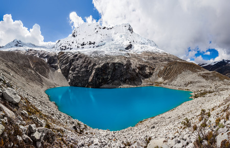 andes mountain: Lake Laguna 69 and Chakrarahu mountain are situated in the Huascaran National Park in the Andes of Peru.