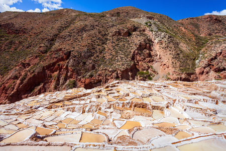 evaporation: The salt evaporation pond at Maras (Salinas de Maras) near Cusco, Peru