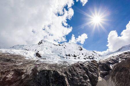 peru: Chakrarahu mountain are situated near Laguna 69 lake in the Huascaran National Park in the Andes of Peru.