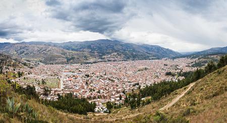 mirador: Huaraz aerial view from Mirador de Retaqenua, Peru
