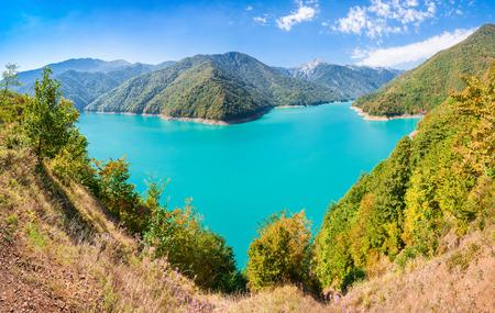 svaneti: Inguri reservoir in Upper Svaneti region, Georgia