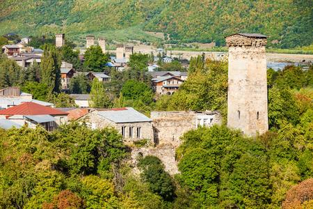svan: Svan towers in Mestia, Svaneti region, Georgia. It is a highland townlet in northwest Georgia, at an elevation of 1500 metres in the Caucasus Mountains.