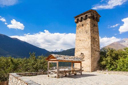 mestia: Svan tower in Mestia, Svaneti region, Georgia.