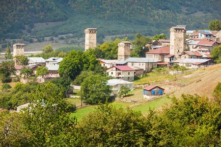 svan: Svan towers in Mestia, Svaneti region, Georgia