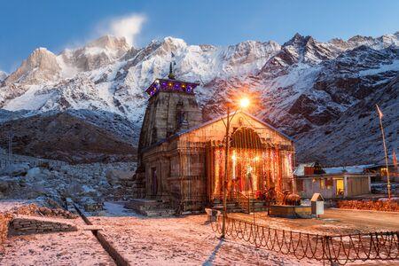 linga: Kedarnath Temple before sunrise, it is a Hindu temple dedicated to Shiva, India.