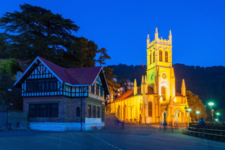 old church: Christ Church in Shimla is the second oldest church in North India Stock Photo
