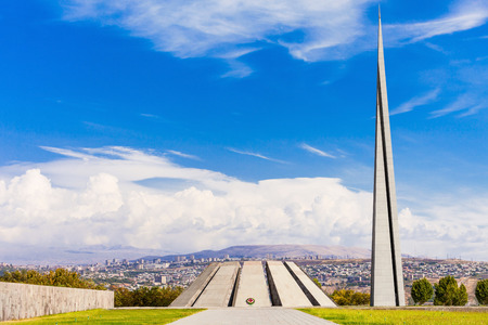 armenian: Tsitsernakaberd - The Armenian Genocide memorial complex is Armenia official memorial dedicated to the victims of the Armenian Genocide in Yerevan, Armenia. Stock Photo