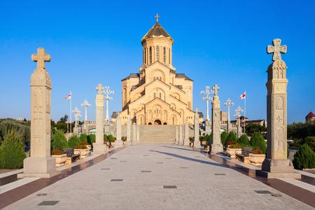 of the holy trinity: Tsminda Sameba Church (The Holy Trinity Cathedral of Tbilisi) at evening, located in Tbilisi, capital of Georgia