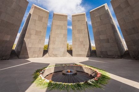 genocide: Inside Tsitsernakaberd - The Armenian Genocide memorial complex, it is Armenia official memorial dedicated to the victims of the Armenian Genocide in Yerevan.