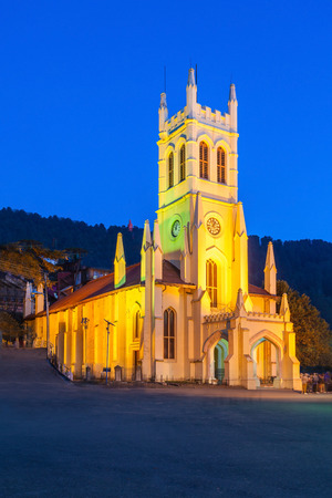 church people: Christ Church in Shimla is the second oldest church in North India Stock Photo