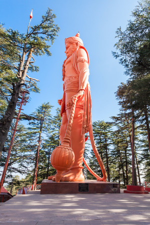 temple: Hanuman statue near the Jakhoo Temple, it is an ancient temple in Shimla, dedicated to Hindu deity, Hanuman.
