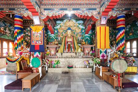 BODH GAYA, INDIA - NOVEMBER 15, 2015: Royal Bhutan Monastery (Bhutanese Temple) interior, its near Mahabodhi Temple in Bodh Gaia, Bihar state of India. Editorial