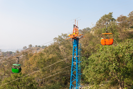 shakti: Ropeway (cable car) carrying pilgrims to the Mansa Devi temple in Haridwar, India