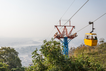devi: Ropeway (cable car) carrying pilgrims to the Mansa Devi temple in Haridwar, India