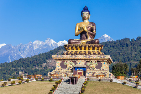 130 foot high statue of the Buddha is located in Buddha Park in Ravangla, India Stock Photo