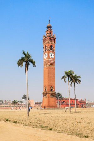 temple tower: Husainabad Clock Tower (Ghanta Ghar Tower) is a clock tower located in the Lucknow city of India Stock Photo