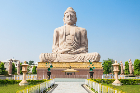 Great Buddha Statue near Mahabodhi Temple in Bodh Gaia, Bihar state of India Фото со стока