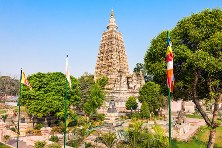 bihar: Mahabodhi Temple Complex in Gaya district in the state of Bihar, India Stock Photo