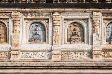mahabodhy: Decorated relief panel of Mahabodhi Temple in Gaya district in the state of Bihar, India