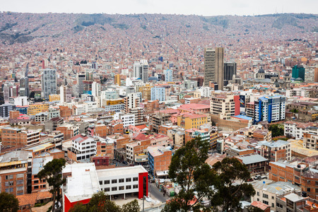 la paz: LA PAZ, BOLIVIA - MAY 16, 2015: La Paz panoramic view, Bolivia. La Paz is the worlds highest administrative capital.