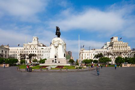 jose de san martin: LIMA, PERU - MAY 10, 2015: Monument to Jose de San Martin on the Plaza San Martín in Lima, Peru