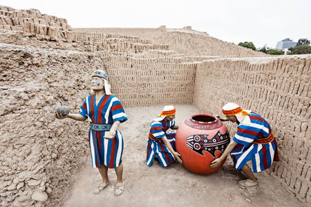miraflores district: LIMA, PERU - JUNE 03, 2015: The Huaca Pucllana is a great adobe and clay pyramid located in the Miraflores district of Lima, Peru