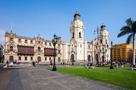 lima: LIMA, PERU - MAY 10, 2015: The Basilica Cathedral of Lima is a Roman Catholic cathedral located in the Plaza Mayor in Lima, Peru Editorial