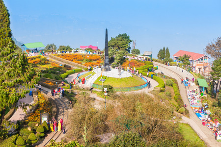 darjeeling: DARJEELING, INDIA - NOVEMBER 17, 2015: The Batasia Loop is a spiral railway of the Darjeeling Himalayan Railway in Darjeeling, India. Editorial