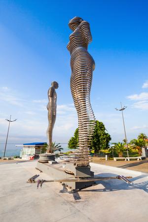 metal sculpture: BATUMI, GEORGIA - SEPTEMBER 22, 2015: Moving metal sculpture Ali and Nino (old name Man and Woman) by Tamara Kvesitadze in Batumi, Adjara region of Georgia.