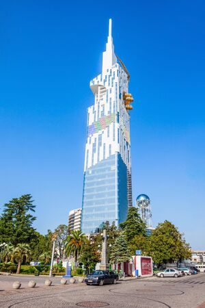 technological: BATUMI, GEORGIA - SEPTEMBER 21, 2015: Batumi Technological University Tower  in the center of Batumi.