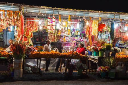 RISHIKESH, INDIA - NOVEMBER 08, 2015: Street on Diwali festival. Diwali (Festival of Lights) is an ancient Hindu festival celebrated in autumn every year in India. Stock Photo - 53571607