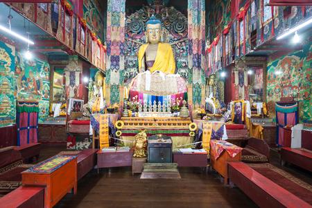darjeeling: DARJEELING, INDIA - NOVEMBER 17, 2015: Ghoom Monastery  interior. It is located in Darjeeling in the state of West Bengal, India. Editorial