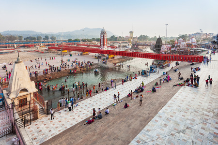 ki: HARIDWAR, INDIA - NOVEMBER 13, 2015: Har Ki Pauri is a famous ghat on the banks of the Ganges in Haridwar, India. This revered place is the major landmark of Haridwar. Editorial