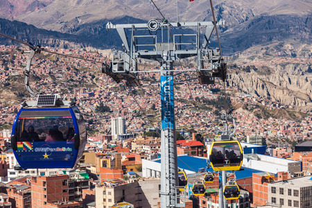 mi: LA PAZ, BOLIVIA - MAY 17, 2015: Mi Teleferico is an aerial cable car urban transit system in the city of La Paz, Bolivia.