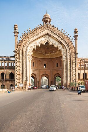 LUCKNOW, INDIA - NOVEMBER 15, 2015: The Rumi Darwaza (Turkish Gate) in Lucknow, Uttar Pradesh state of India is an imposing gateway. Editorial