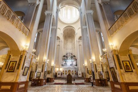 of the holy trinity: TBILISI, GEORGIA - SEPTEMBER 16, 2015: The Holy Trinity Cathedral of Tbilisi (Tsminda Sameba Church) interior.