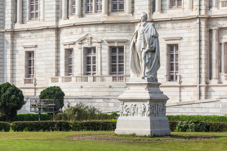 monument in india: KOLKATA, INDIA - NOVEMBER 23, 2015: George Curzon Viceroy of India monument at the Victoria Memorial in Kolkata.