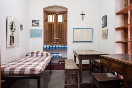 missionary: KOLKATA, INDIA - NOVEMBER 24, 2015: Mother Teresa room interior at the Missionaries of Charitys Mother House in Kolkata.