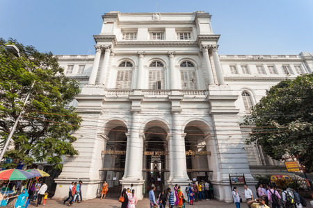 mughal: KOLKATA, INDIA - NOVEMBER 24, 2015: The Indian Museum is the largest and oldest museum in India and has rare collections of antiques, armour and ornaments, fossils and Mughal paintings.
