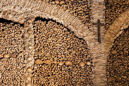 transient: The Chapel of Bones (Capela dos Ossos) is one of the best known monuments in Evora, Portugal Stock Photo