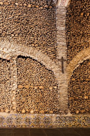 transient: The Chapel of Bones (Capela dos Ossos) is one of the best known monuments in Evora, Portugal Editorial