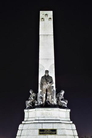 nightview: Monument of Jose Rizal - Filipino nationalist, writer and revolutionary Stock Photo