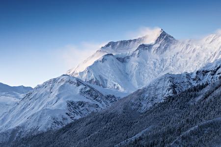 Before sunrise in Annapurna mountains, Himalaya region, Nepal
