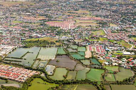 suburb: Manila suburb, view from the plane, Philippines Stock Photo