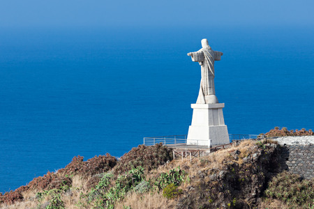 hill of the king: The Christ the King statue is a Catholic monument on Madeira island, Portugal