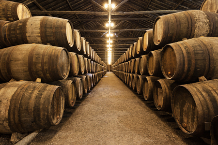 Vaten in de wijnkelder, Porto, Portugal Stockfoto