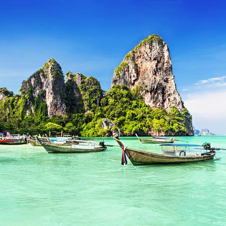 thailand beach: Longtale boats at the beautiful beach, Thailand Stock Photo