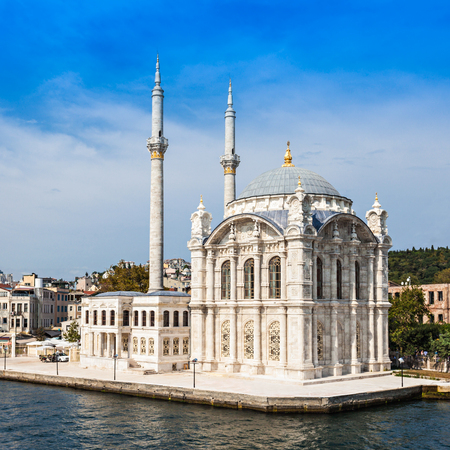 commissioned: The Dolmabahce Mosque is in Istanbul, Turkey. It was commissioned by queen mother Bezmi Alem Valide Sultan.