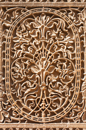 ki: Pattern of the Patwon ki Haveli in Jaisalmer, Rajasthan state in India Editorial