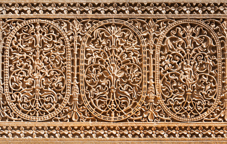 haveli: Pattern of the Patwon ki Haveli in Jaisalmer, Rajasthan state in India Stock Photo